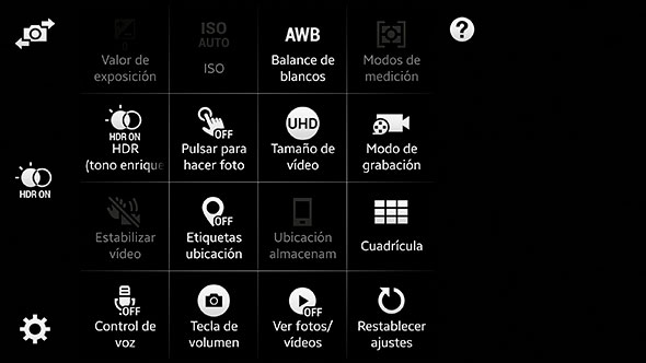Samsung Galaxy Note 4 Interfaz camara